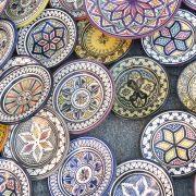 Moroccan ceramic sale in outdoor market